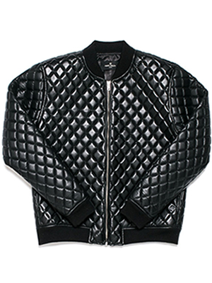 Faux leather quilting blouson