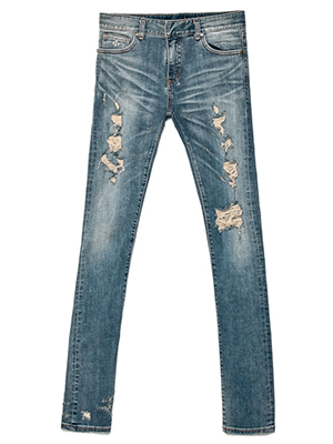 Medium stretch distroyed jean-long